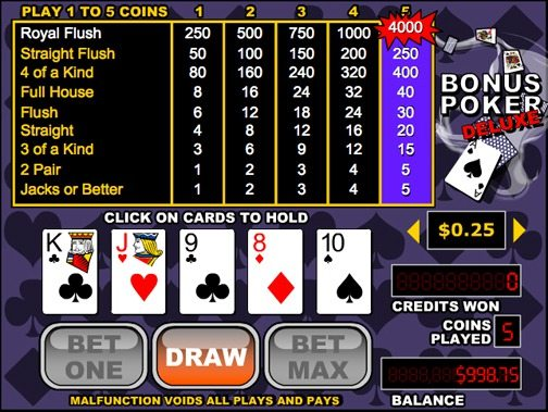 Video Poker – Bonus Poker Deluxe